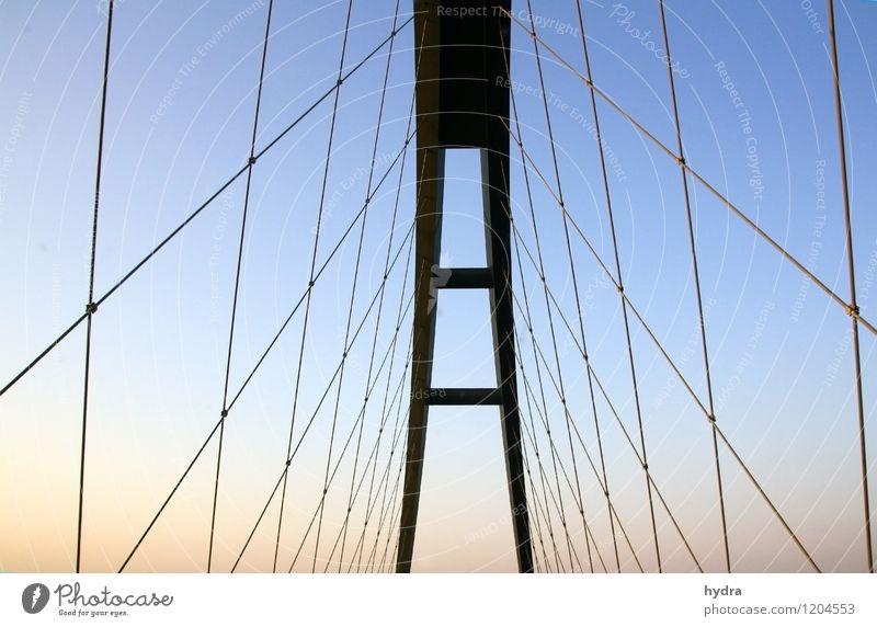 Fahrt ins Blaue Ferien & Urlaub & Reisen Insel Baustelle Ingenieurwesen Architektur Stahlkonstruktion Stahlbrücke Drahtseil Himmel Wolkenloser Himmel Sommer