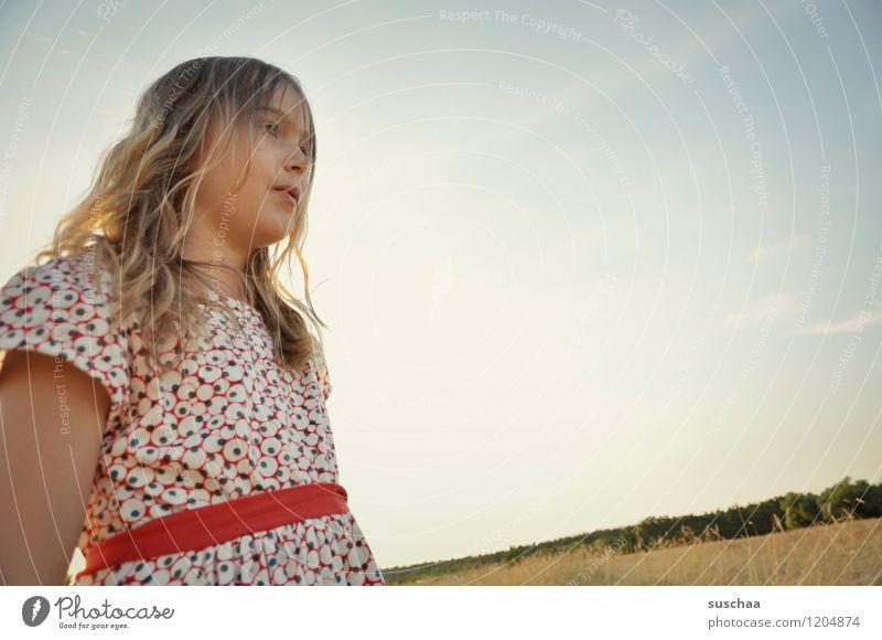 es war einmal im sommer ......... Kind Mädchen Gesicht Arme Hand Haare & Frisuren Kleid Außenaufnahme Feld Himmel Natur Landschaft Sommer Kindheit Freiheit