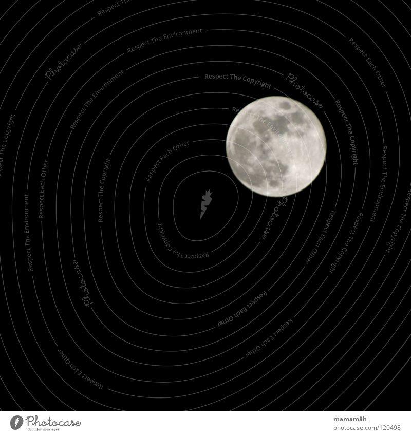Vollmond Himmel schwarz dunkel hell leuchten Mond Schweben Nachthimmel kreisen Orientierung Himmelskörper & Weltall Vulkankrater Mondsüchtig