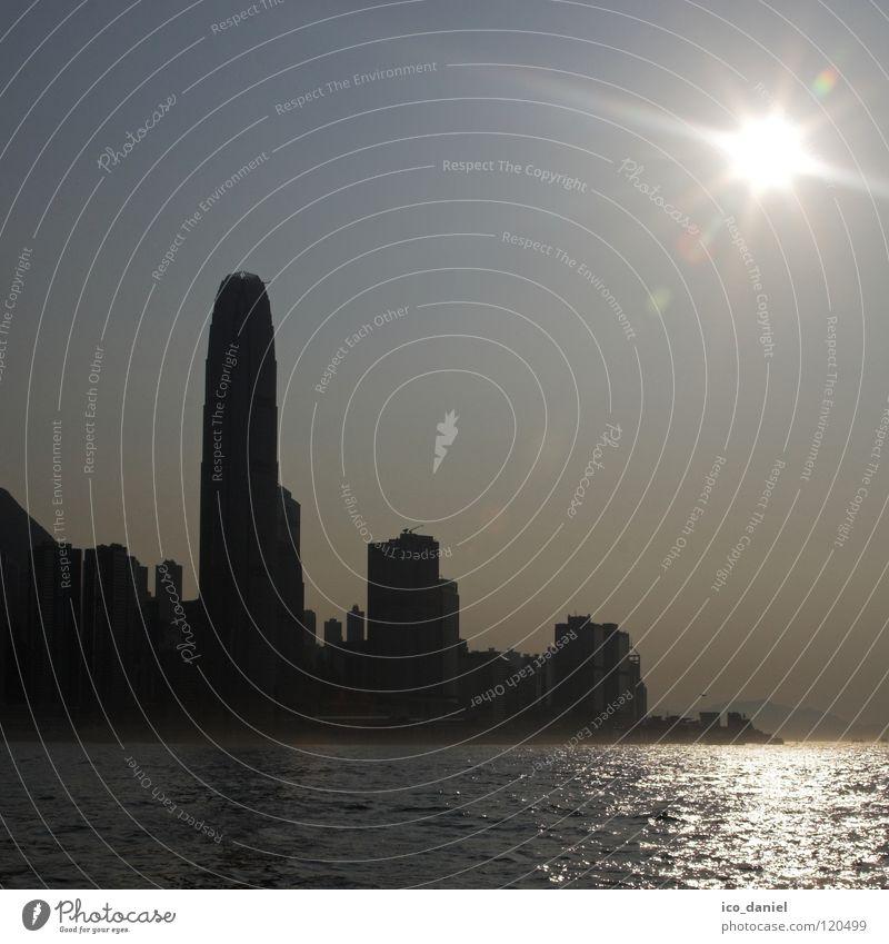 Skyline Hong Kong Himmel Wasser Stadt Sonne schwarz Nebel glänzend groß Hochhaus außergewöhnlich Bankgebäude Asien Skyline China Hongkong Blendenfleck