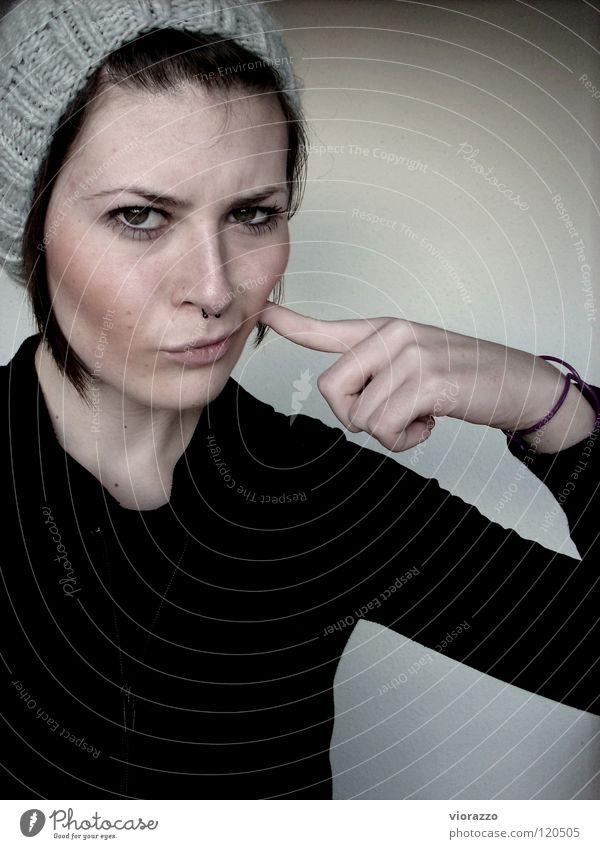 ja genau. Hand Mauer grau Haare & Frisuren Finger Vertrauen Lippen Mütze Zweifel Rouge Kosmetik Mund
