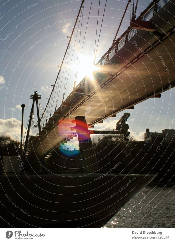 Brückensolarium No. I Wasser Himmel Sonne Meer blau Sommer Ferien & Urlaub & Reisen schwarz Wolken Fenster See Wasserfahrzeug Beleuchtung Glas Seil Brücke