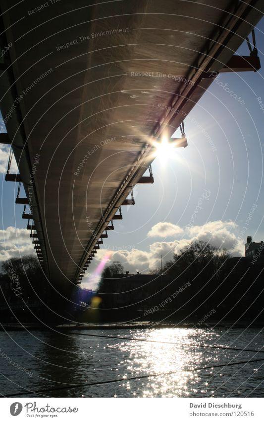 Brückensolarium No. II Wasser Himmel Sonne Meer blau Sommer Ferien & Urlaub & Reisen schwarz Wolken Fenster See Wasserfahrzeug Beleuchtung Glas Seil Brücke