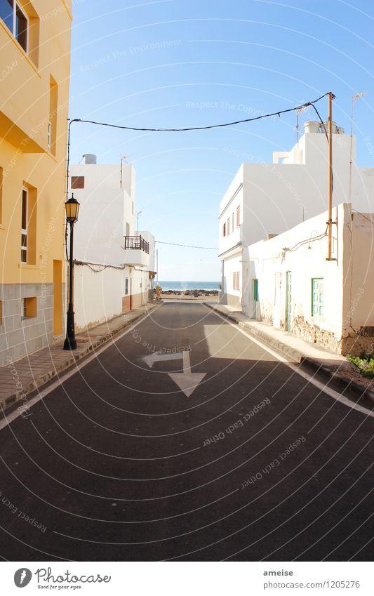 El Cotillo ruhig Ferien & Urlaub & Reisen Tourismus Städtereise Strand Meer Wolkenloser Himmel Horizont Sommer Schönes Wetter Wärme Insel Fuerteventura