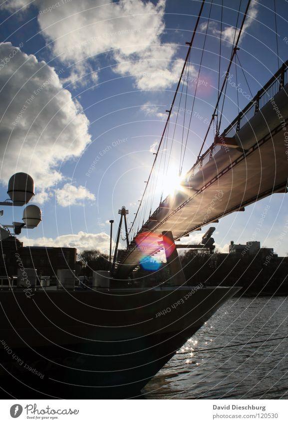 Brückensolarium No. III Wasser Himmel Sonne Meer blau Sommer Ferien & Urlaub & Reisen schwarz Wolken Fenster See Wasserfahrzeug Beleuchtung Glas Seil Brücke