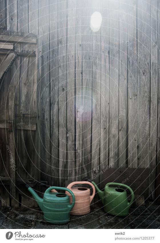 Wandertag Mauer Holzwand Scheune Kunststoff Blick stehen warten Neugier unten Gießkanne 3 unterwegs Blendenfleck Farbfoto Gedeckte Farben Außenaufnahme