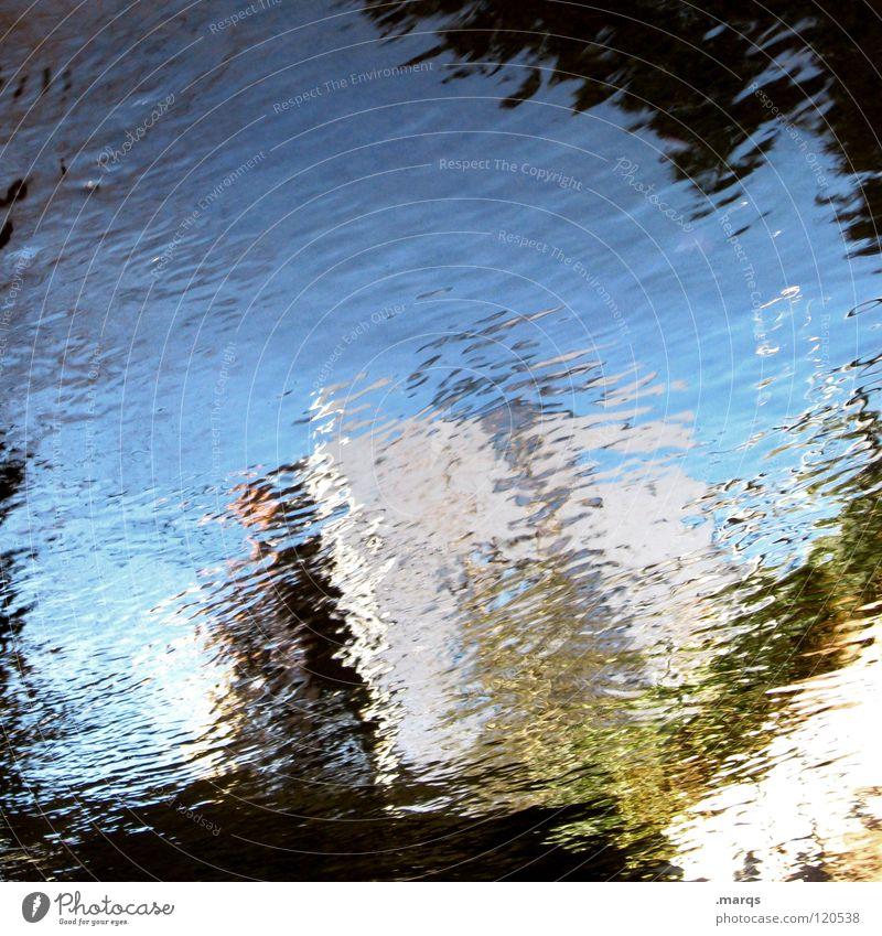 Wasserfarben Himmel weiß blau Haus schwarz grau Wellen Kunst nass Vergänglichkeit Flüssigkeit obskur Pfütze unklar gemalt
