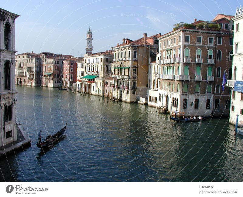 Vendig/Canale Grande Wasser Sonne Meer blau Sommer ruhig Haus Stimmung Architektur Italien Venedig Barock Gondel (Boot) Canal Grande