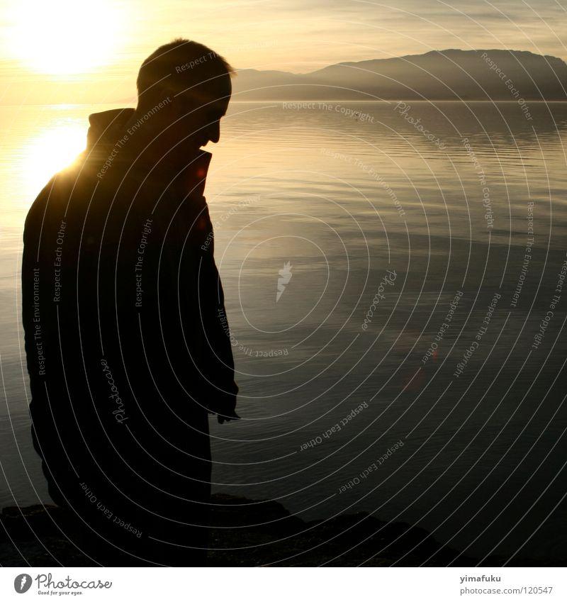 Fanel 3 Sonnenuntergang Gefühle Konzentration shadow thinking lake mountain Stil sober