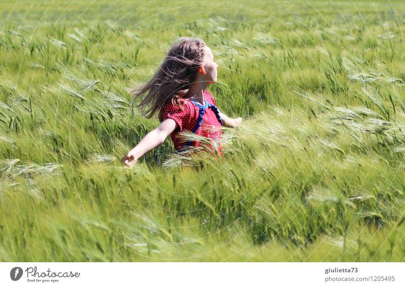 Nur Fliegen ist schöner! Mensch Kind Ferien & Urlaub & Reisen Pflanze grün Sonne rot Mädchen Leben Frühling Spielen Glück träumen Feld Kindheit Wind