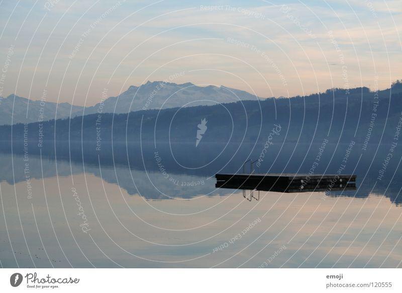 Floss Floß Idylle Kurort kalt traumhaft schön See Winter Reflexion & Spiegelung 2 Himmel Ferien & Urlaub & Reisen Erholung ruhig abgelegen Einsamkeit ruhen