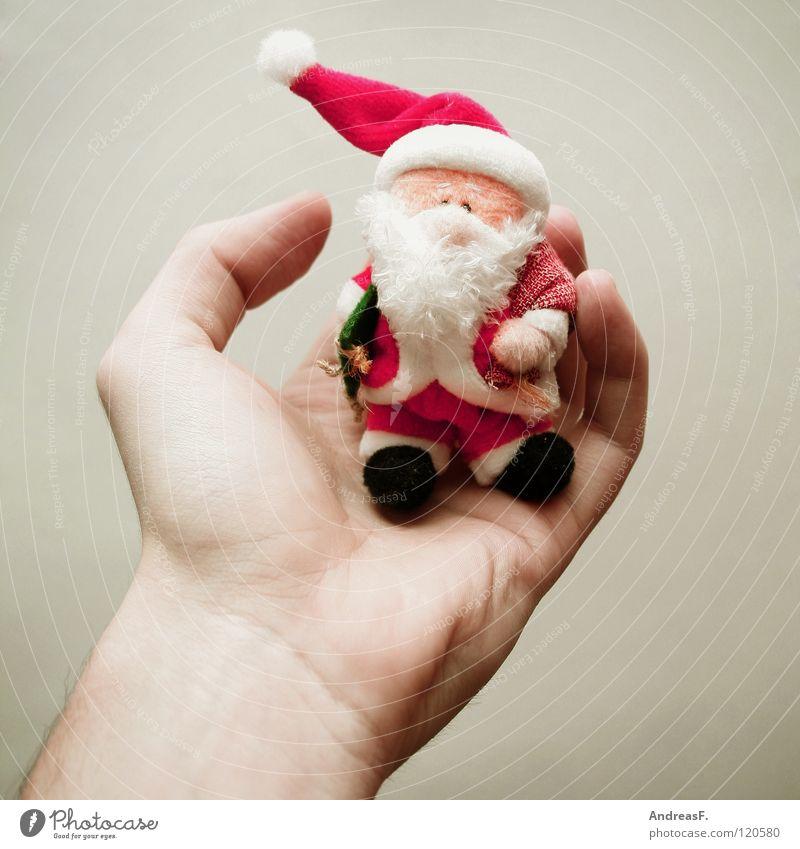 bis bald! Hand Weihnachten & Advent Winter sitzen Dekoration & Verzierung festhalten Kitsch Karneval Weihnachtsmann Bart Karnevalskostüm verschönern Dezember Weihnachtsdekoration Handfläche
