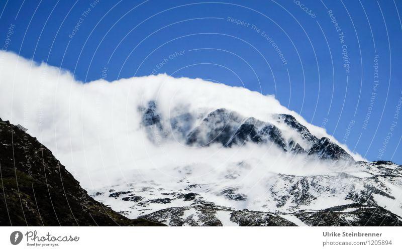 Schneewarnung 3 Himmel Natur Ferien & Urlaub & Reisen blau Sommer weiß Sonne Landschaft Wolken Ferne kalt Berge u. Gebirge Umwelt Felsen Wetter