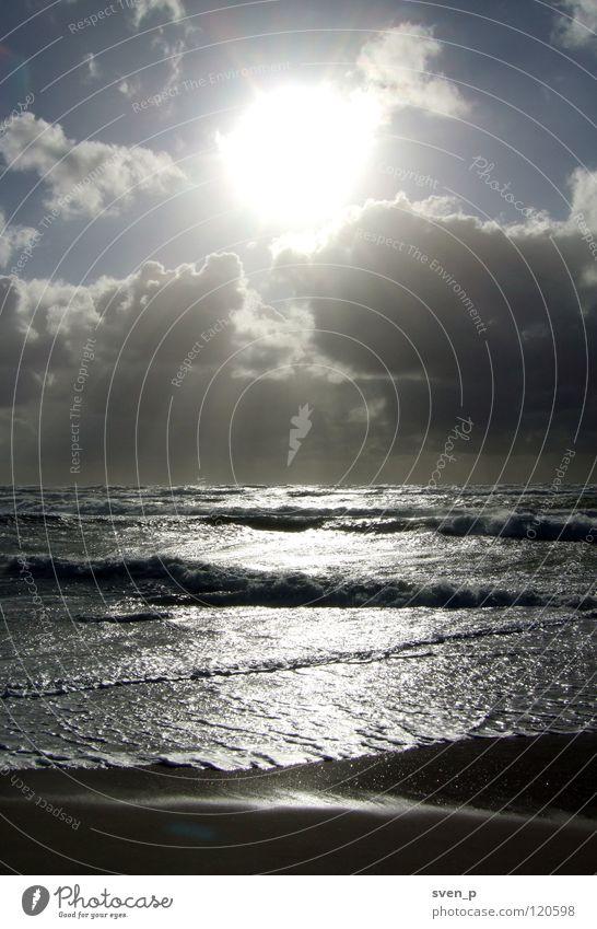Nordsee Meer Wellen Sonnenuntergang Gegenlicht Strand Wasser