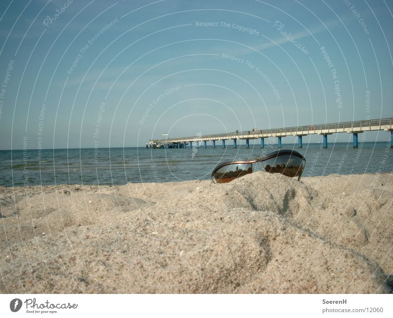 product placement Sonnenbrille Strand Steg Brille Meer Freizeit & Hobby Wasser Sand Himmel