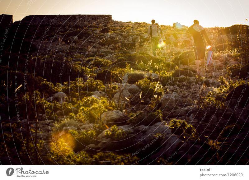 Weg zum Meer Junge Frau Jugendliche Junger Mann 2 Mensch Umwelt Natur Landschaft Tier Sonne Sonnenaufgang Sonnenuntergang Sonnenlicht Hügel Felsen laufen