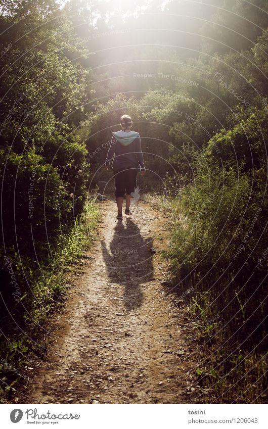Long way to go Junge Frau Jugendliche Erwachsene 1 Mensch laufen wandern Wege & Pfade Denken Wald Sträucher Sommer unterwegs Spazierweg Einsamkeit nachdenklich