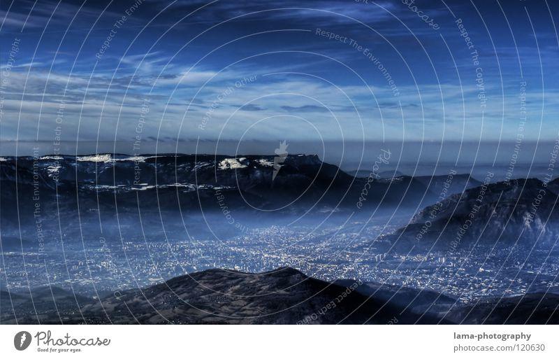 Visions: Grenoble 2074 Himmel Wasser blau Baum Meer Wolken dunkel Schnee Umwelt Berge u. Gebirge träumen Erde See Feld Nebel modern