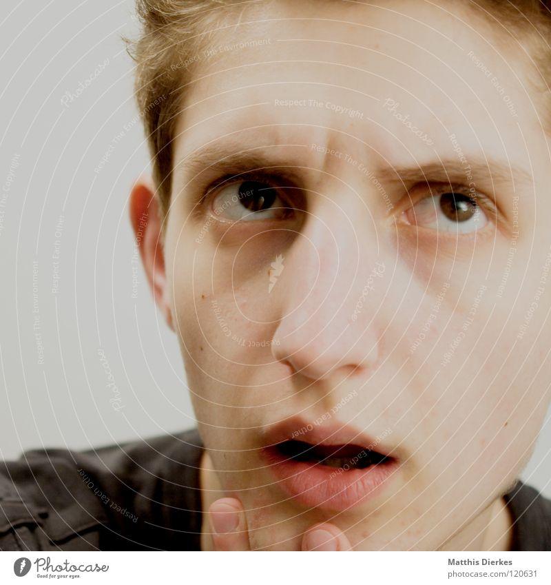 Denker III Mensch Mann Jugendliche Gefühle Denken Nase Erfolg lernen planen Körperhaltung Wut Konzentration ausdruckslos Zunge Ärger untergehen
