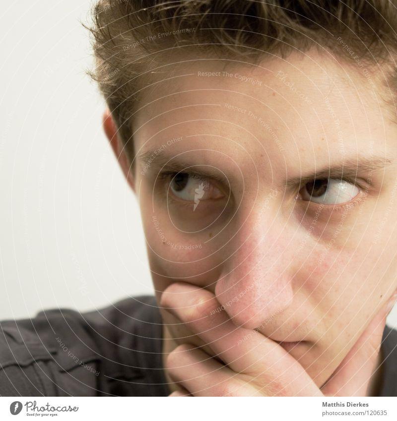 Denker Mensch Mann Jugendliche Gefühle Denken Nase Erfolg lernen planen Körperhaltung Wut Konzentration ausdruckslos Zunge Ärger untergehen