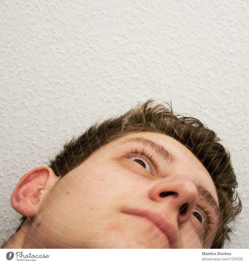 Empor Mensch Mann Jugendliche Gefühle Denken Zufriedenheit Nase lernen planen Körperhaltung Konzentration Krankheit ausdruckslos Wut Langeweile Zunge