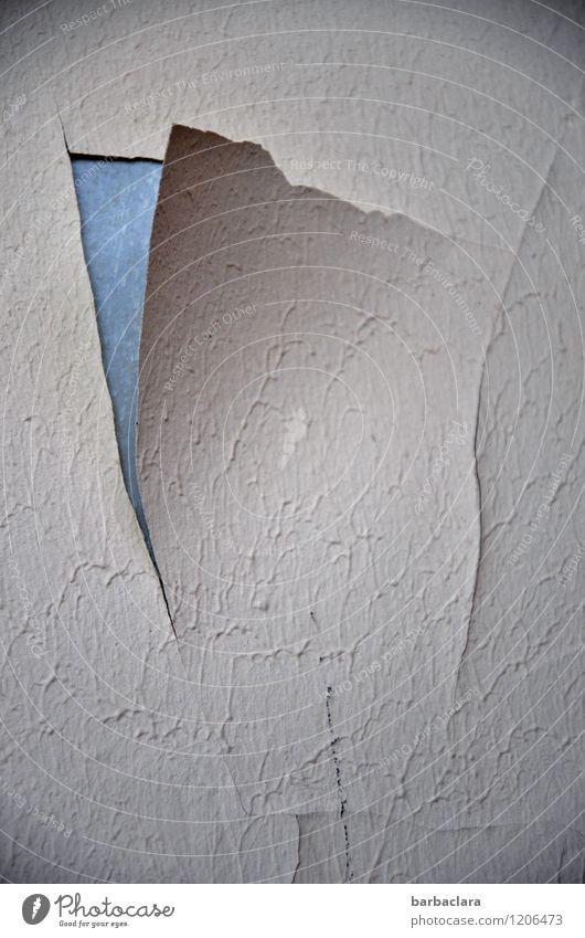 Fehl am Platz | Tapetenriss Wohnung Haus Mauer Wand Fassade alt kaputt Verfall Vergänglichkeit Zerstörung Gedeckte Farben Innenaufnahme abstrakt