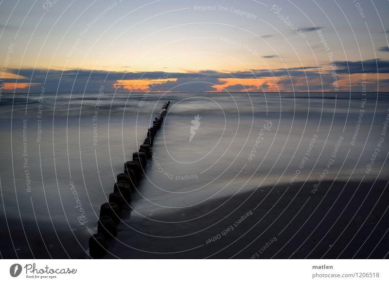 Silbersee Natur Landschaft Himmel Wolken Horizont Sonnenaufgang Sonnenuntergang Wetter Schönes Wetter Wellen Küste Strand Meer Menschenleer blau braun grau