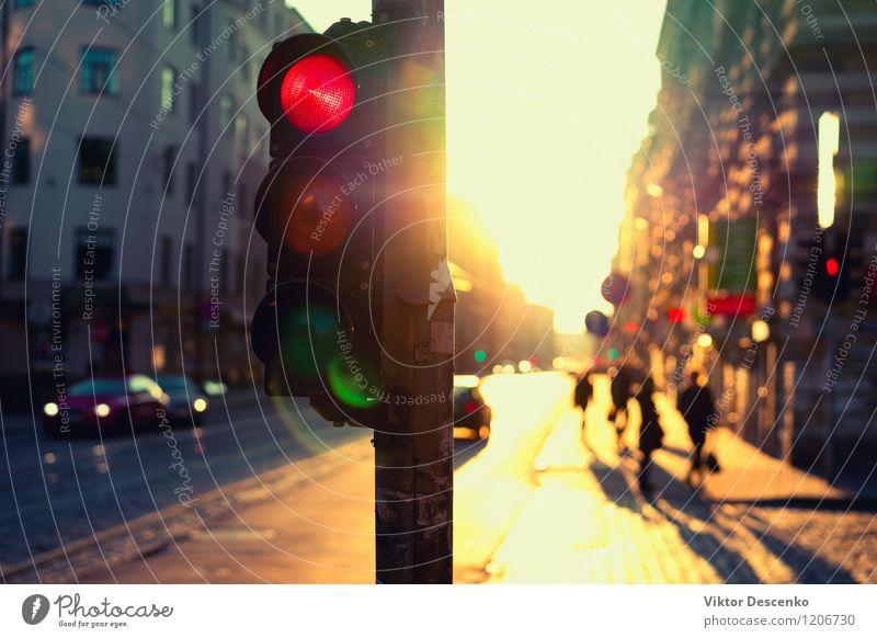 Ampeln nachts draußen bei Sonnenuntergang Himmel Ferien & Urlaub & Reisen Stadt Farbe Sommer gelb Straße PKW Verkehr Aussicht fahren Abenddämmerung Autobahn KFZ
