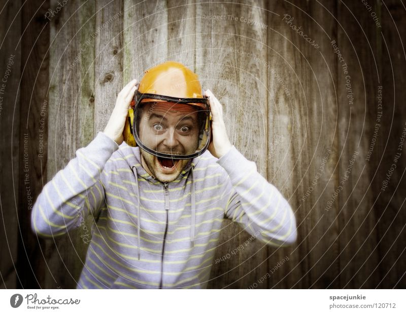 Achtung! Baum fällt! Mann Beruf Helm Schutzhelm Holz Wand Panik Unfall Freude Forstarbeiter Vorarbeiter Strukturen & Formen Angst schreien