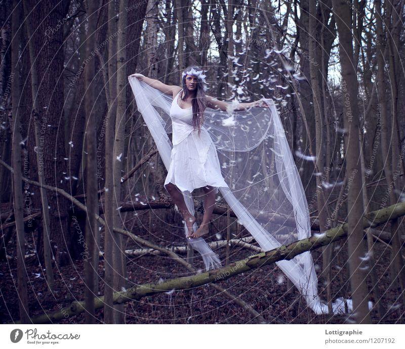 psithurism - (n.) the sound of the wind through trees Mensch feminin Junge Frau Jugendliche 1 18-30 Jahre Erwachsene Kunst Natur Luft Baum Wald Kleid Stoff