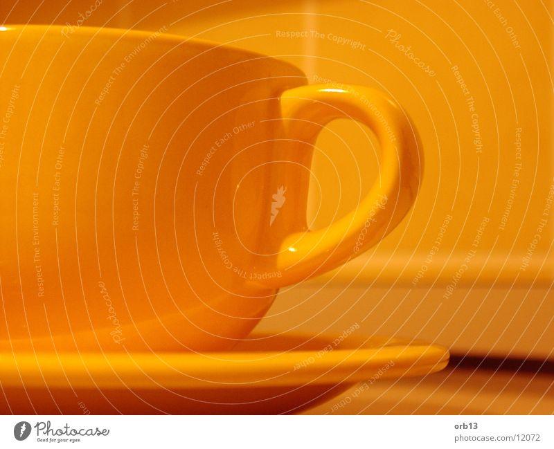 Gelbe Tasse gelb orange Getränk Kaffee Küche Tee Tasse