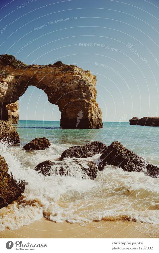 o arco Ferien & Urlaub & Reisen Sommer Sommerurlaub Sonne Strand Schönes Wetter Felsen Wellen Küste Bucht Meer Algarve Portugal Farbfoto Außenaufnahme