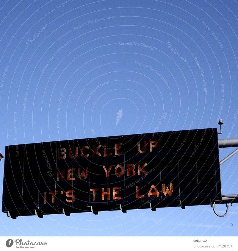 Gesetz is Gesetz! Schilder & Markierungen Werbung Hinweisschild New York City Leuchtreklame Straßennamenschild