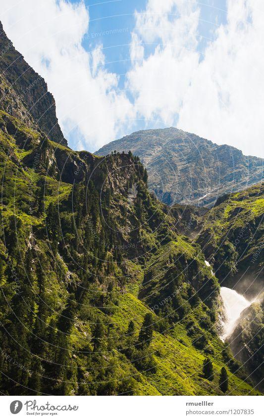 Landschaft Umwelt Natur Urelemente Erde Sommer Schönes Wetter Wärme Pflanze Baum Hügel Felsen Alpen Berge u. Gebirge Gipfel Bach Wasserfall beobachten entdecken