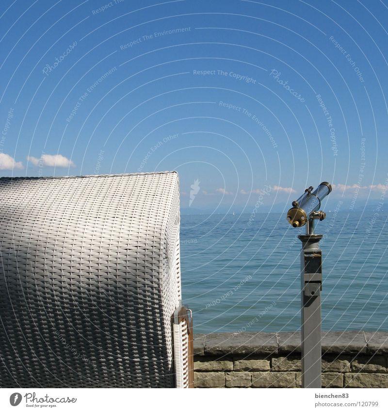 Fernweh Ferien & Urlaub & Reisen Strandkorb See Fernglas Aussicht Sommer Wasser Bodensee blau Himmel Insel