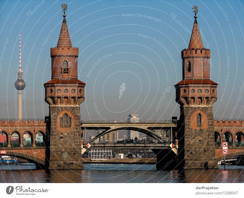 Oberbaumbrücke ohne Gelb Ferien & Urlaub & Reisen Architektur Gefühle Gebäude Berlin Tourismus Verkehr authentisch Brücke Turm Bauwerk Skyline Hauptstadt