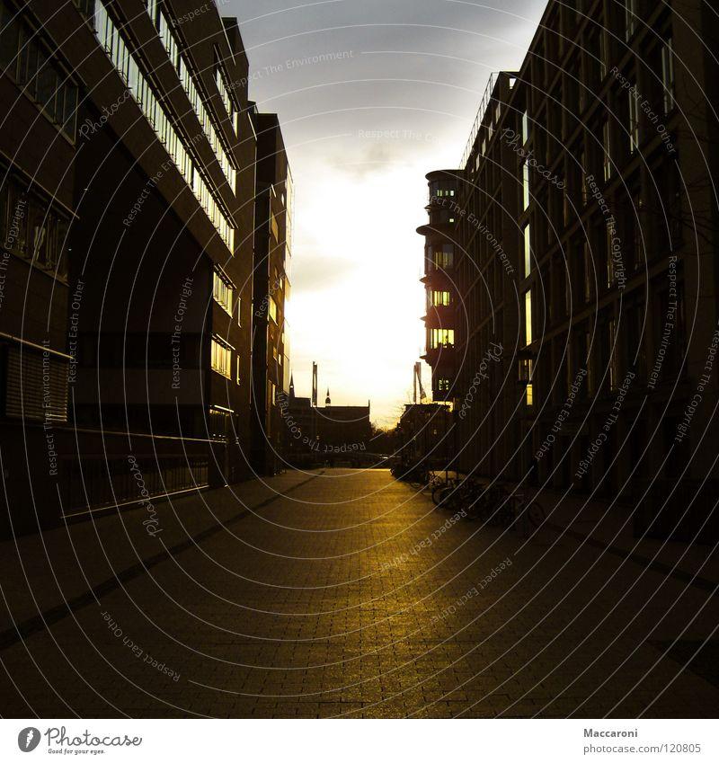 Sonnenuntergang Physik gelb Gasse Haus Hochhaus Köln Strahlung Abend Romantik schön links rechts gehen schmal Wärme Stein muster fenster PKW Himmel hell way