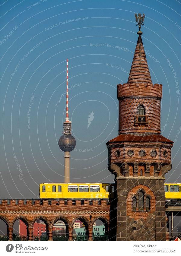 Drei Merkmale aus Berlin Ferien & Urlaub & Reisen Stadt Sommer Freude Ferne gelb Gefühle Tourismus Verkehr Ausflug Brücke Abenteuer Turm Wahrzeichen