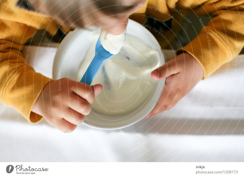 *nohmeh johdohd* Joghurt Ernährung Essen Frühstück Appetit & Hunger Schalen & Schüsseln Löffel Lifestyle Kind Kindheit Leben Hand 1 Mensch 1-3 Jahre Kleinkind