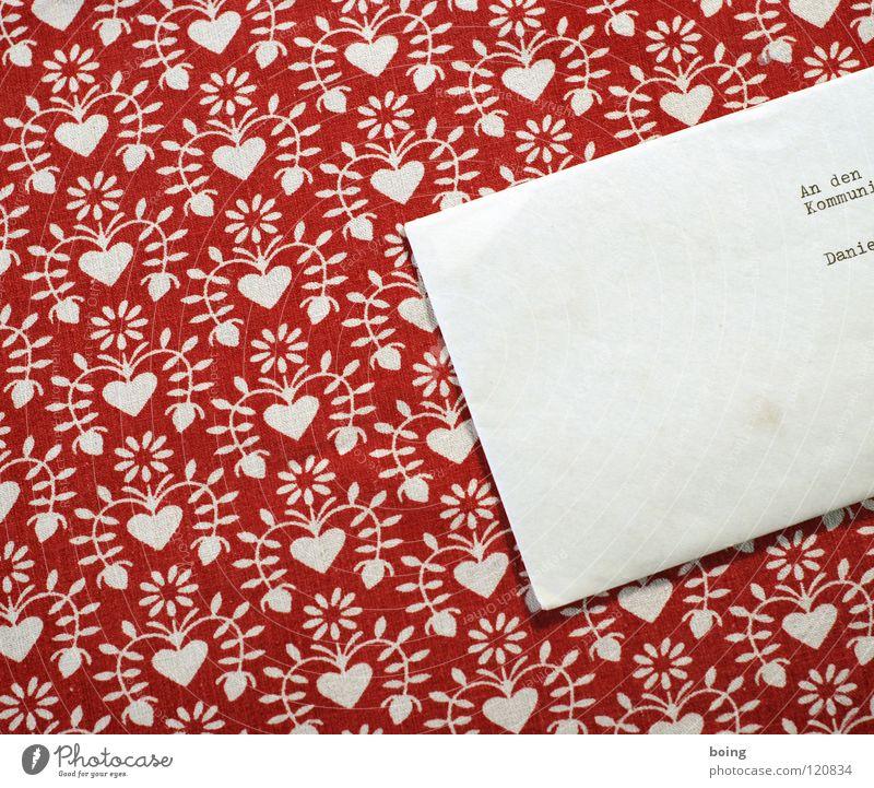 Brief an den Kommunisten Danielovitch Demsky Adressat Briefumschlag Kommunismus Muster Ranke rot Post Schreibmaschine Briefkasten SMS Information Einladung