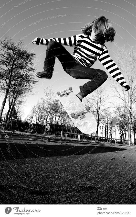 360 Flip Mann Jugendliche Baum Sport springen Bewegung Beine Zufriedenheit Beleuchtung fliegen Beton Aktion Bodenbelag Skateboarding Holzbrett Abenddämmerung