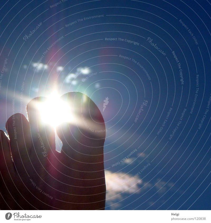 Durchleuchtung... Zehen Gelenk Nagel links Licht Sonne Sonnenlicht Gegenlicht Wolken Ferien & Urlaub & Reisen Erholung hochhalten vertikal Strand Meer Sommer