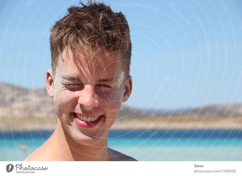 Strandmatte Freude Glück Körperpflege Gesicht Schwimmen & Baden Ferien & Urlaub & Reisen Sommer Sommerurlaub Sonne Meer maskulin Junger Mann Jugendliche Haut