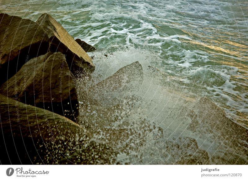 Ostsee Gischt Schaum salzig See Meer Ferien & Urlaub & Reisen rau spritzen Abendsonne glänzend Wellen kalt frisch Farbe Strand Küste Wasser Stein Erholung