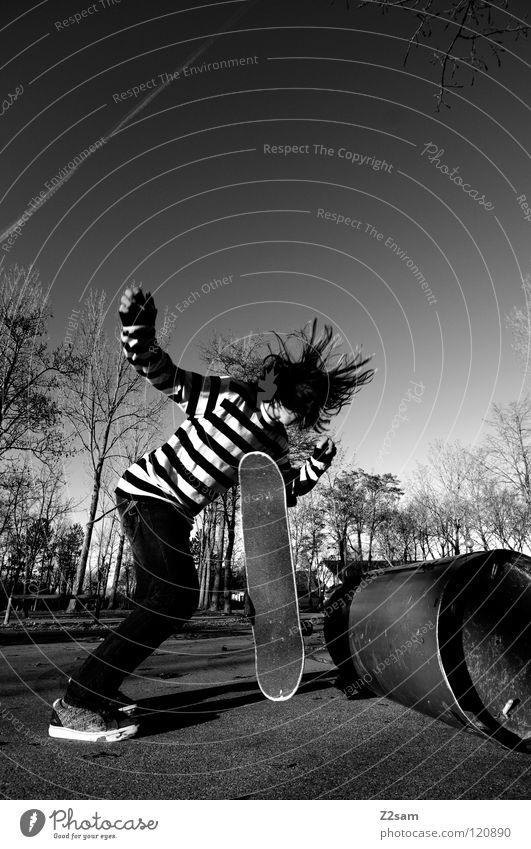 out of control Abenddämmerung Aktion Skateboarding Zufriedenheit Kickflip Salto springen gestreift Teer Beton Baum Weitwinkel Jugendliche Sport Fass