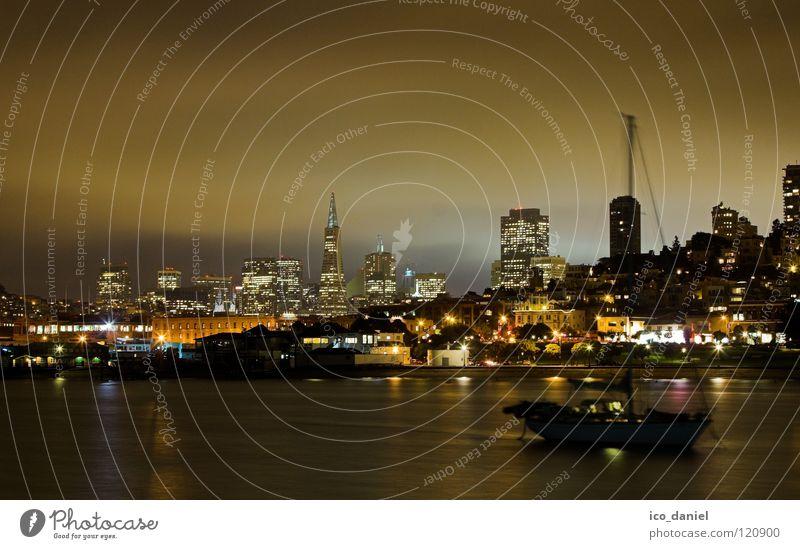 skyline san francisco Wasser schön Stadt ruhig Haus Wolken Lampe dunkel Wasserfahrzeug Energiewirtschaft Amerika Skyline Bucht erleuchten Nachtaufnahme Kalifornien
