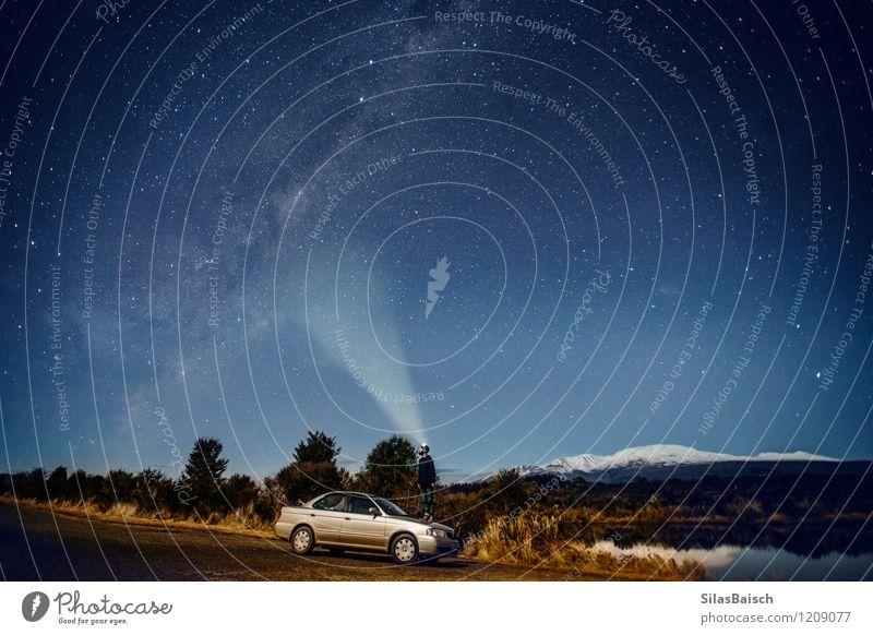 Darsteller in den Sternen in Neuseeland Himmel Natur Ferien & Urlaub & Reisen Jugendliche Junger Mann Landschaft 18-30 Jahre Winter Erwachsene Berge u. Gebirge