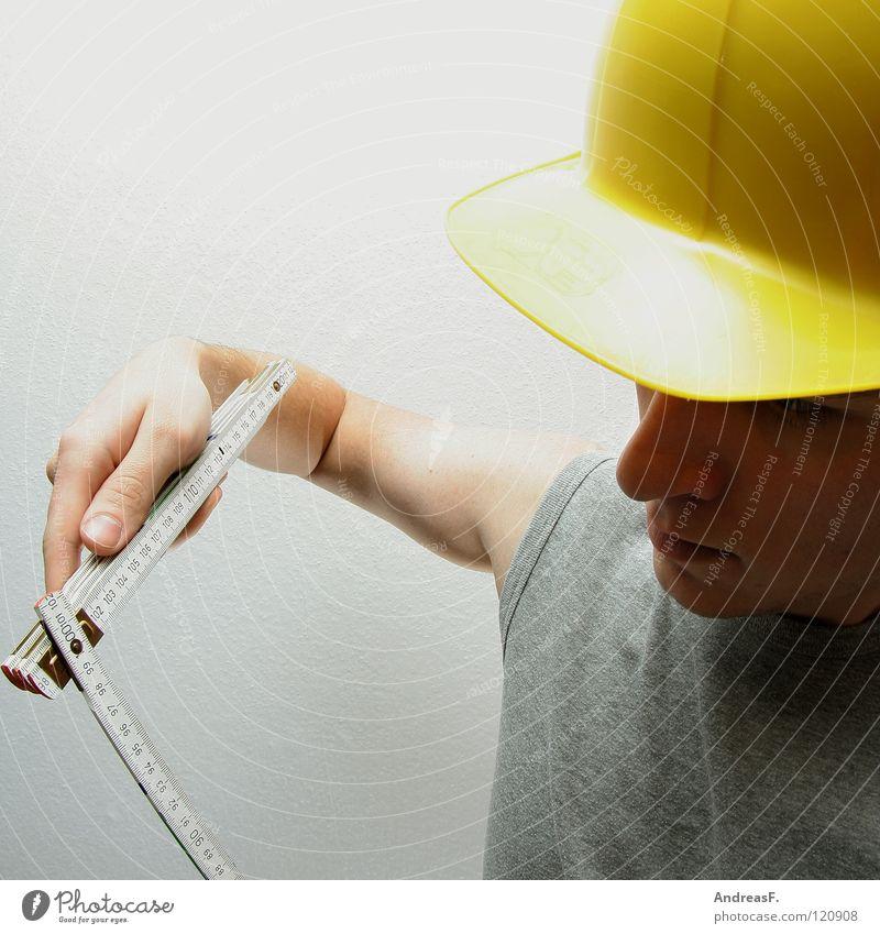 Endkontrolle Mann Arbeit & Erwerbstätigkeit Handwerker Mauer Sicherheit Baustelle schreien Kontrolle bauen Desaster Techniker Berufsausbildung Bauarbeiter Helm