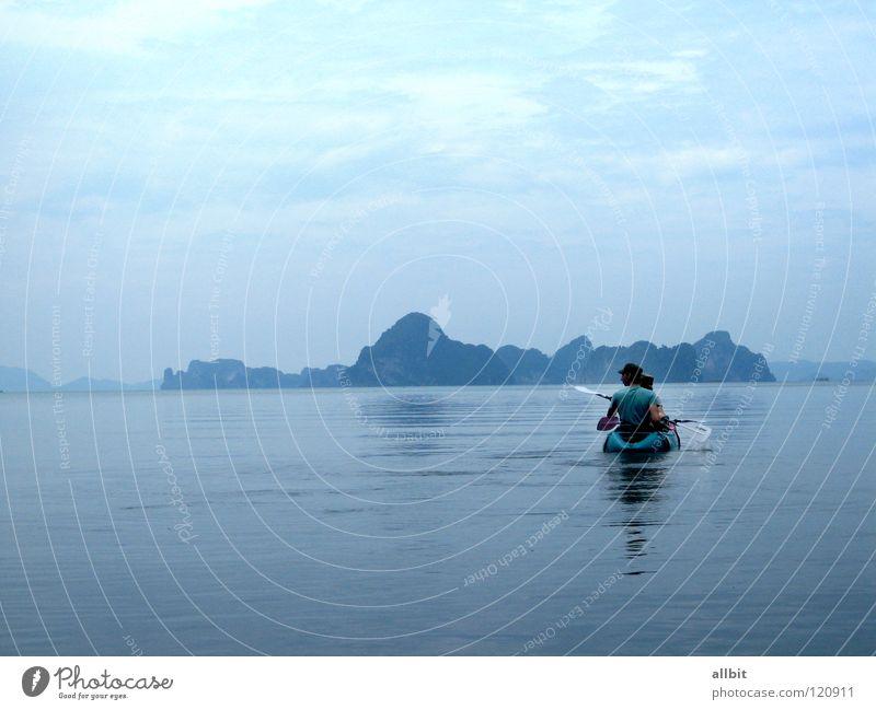 Kayaking Meer Kajak Thailand Wasserfahrzeug Rudern Paddeln ruhig Einsamkeit Ferne Asien Krabi Nationalpark Insel blau Sport Natur