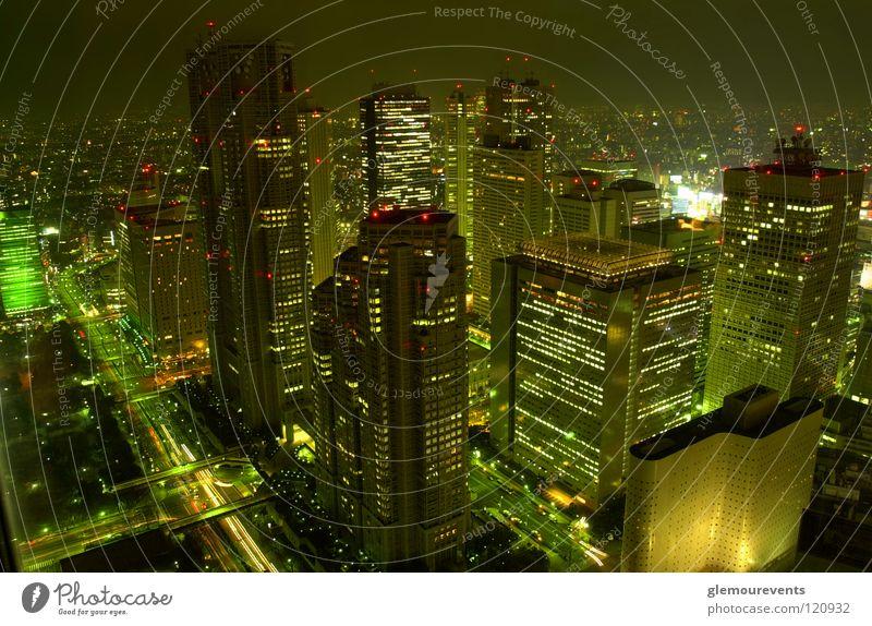 Wolkenkratzer in Japan Hochhaus Nacht Stadt Tokyo Park Hyatt Tokyo Abend Licht Future modern wirklich